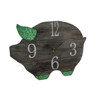 Wooden Pig Shaped Wall Clock w/Tooled Metal Accents 16 in.