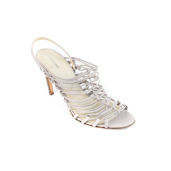 dce2439fdd Shop Roberto Cavalli Womens Ivory Leather Strappy Kitten Heels Pumps - Free  Shipping Today - Overstock.com - 18653031