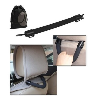 JAVOedge Black Car Removable Back Seat Handle for Hanging Items, Steady Bar for Kids, Elderly with Bonus Drawstring Bag