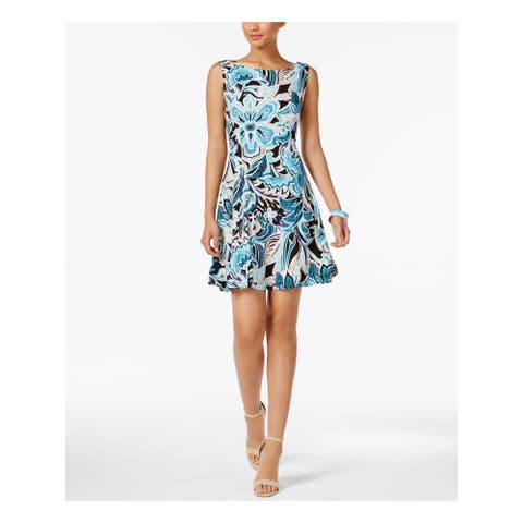 CONNECTED APPAREL Womens Blue Pleated Floral Cap Sleeve Boat Neck Mini Fit + Flare Wear To Work Dress Size: 16