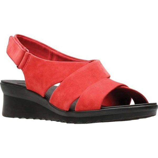 1e88c16650b1 Clarks Women  x27 s Caddell Petal Strappy Sandal Red Synthetic Nubuck
