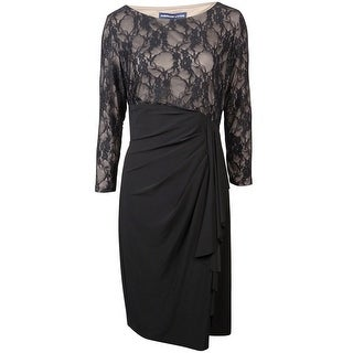 American Living Women's Illusion Lace Ruffle Dress