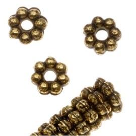 Antiqued Brass Tone Metallized Plastic - Daisy Spacer Beads 6mm Diameter (50)