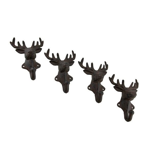 Rustic Cast Iron Deer Head Decorative Wall Hook Set of 4 - 6 X 4.25 X 2.5 inches