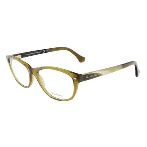 Balenciaga BA5021/V 096 Crystal Dark Shiny Green/Yellow Brown Horn Oval Opticals - 55-16-140
