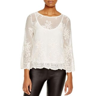 Ella Moss Womens Aimee Blouse Silk Lace