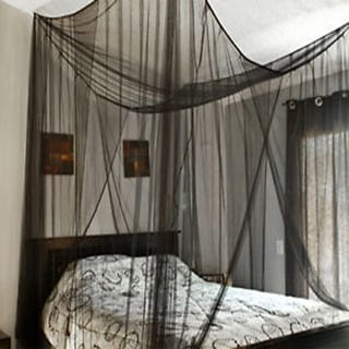 4 Corner Post Bed Canopy Mosquito Net Full Queen King Size Netting Bedding  Black