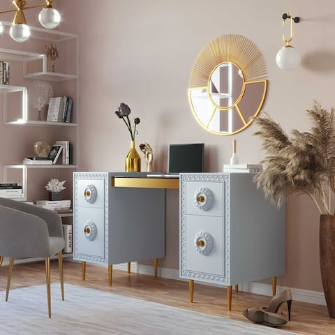 Bovey Light Grey Lacquer Desk
