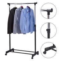 Costway Adjustable Rolling Garment Rack Portable Clothes Hanger Heavy Duty Rail Rack - Sliver