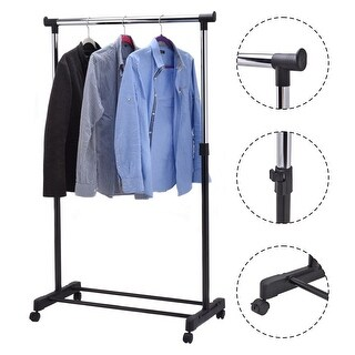 Costway Adjustable Rolling Garment Rack Portable Clothes Hanger Heavy Duty Rail Rack