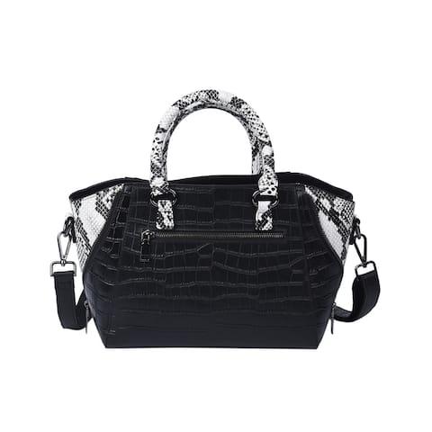 Shop LC PASSAGE Black Skin Leather Tote Bag Shoulder Strap