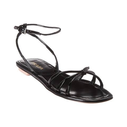Prada Knot-Front Patent Sandal