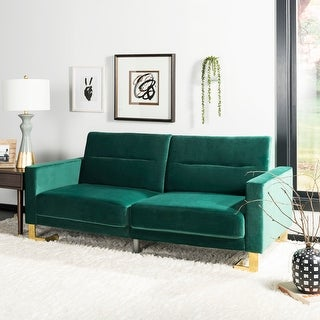 Link to Safavieh Tribeca Emerald Brass Foldable Futon Bed - 77.1' x 33.1' x 36.6' Similar Items in Sofas & Couches