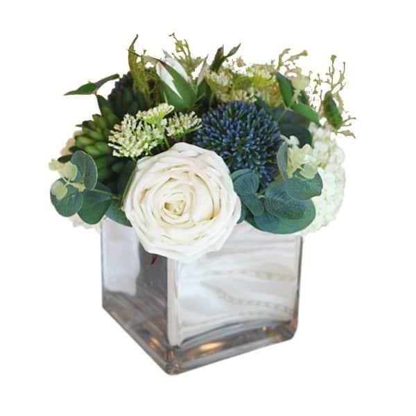 Floralgoods White Blue In Green Flower Arrangement In Glass Vase 9 Tall Overstock 29096718