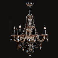 """Worldwide Lighting W83097C28-AM Provence 8-Light 1 Tier 28"""" Chrome Chandelier with Gold Crystals"""