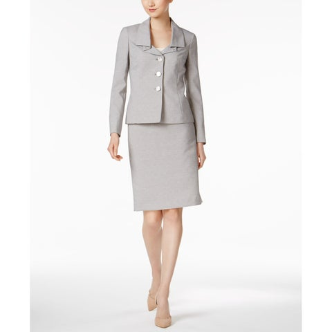 Le Suit Womens Jacquard Ruffled Collar Skirt Suit