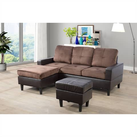 "3-Piece Flexibly Combinable Sectional Sofa Set,Microfiber(071) - 79"" x 61"""