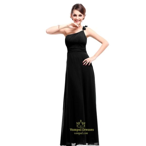 573e103793e Long Black Chiffon One Shoulder Bridesmaid Dress,Black Bridesmaid Dresses  Long