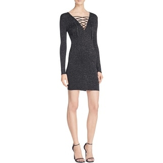 ASTR Womens Cleo Sweaterdress Metallic Lace-Up