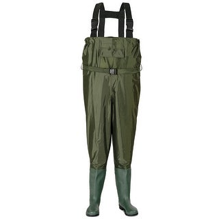 Costway Waterproof Chest Waders Nylon PVC Cleated Bootfoot Fishing & Hunting Adjustable - DARK GREEN
