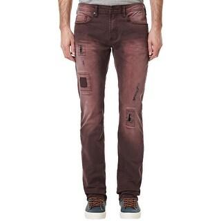 Buffalo By David Bitton Evan-X Slim Stretch Jeans Burgundy 40 x 32 Distressed
