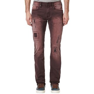Buffalo By David Bitton Evan-X Slim Stretch Jeans Burgundy 40 x 32 Distressed