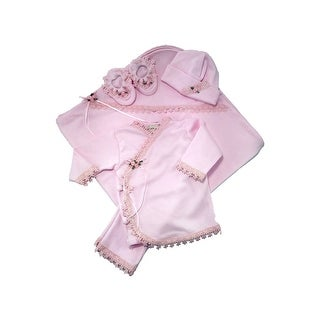 Nick and Nellie Baby Girls Pink Top Pants Cap Blanket Booties Layette Set