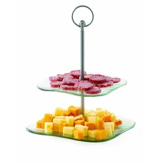 Tablecraft Barcelona Collection Two Tiered Recycled Glass Serving Trays, 14-I...
