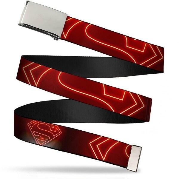 Blank Chrome Buckle Neon Superman Logo Black Red Webbing Web Belt