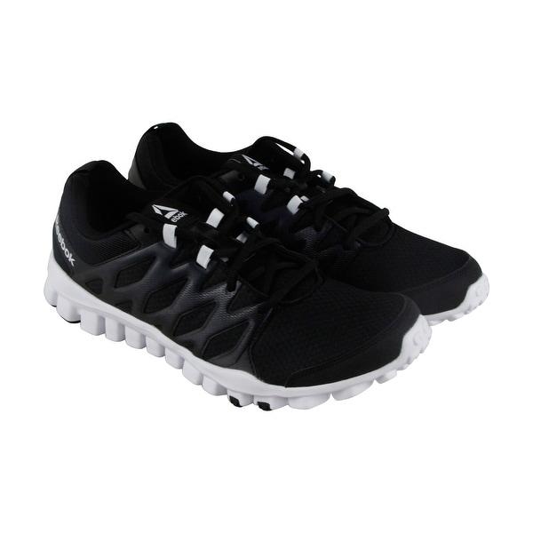 Reebok Realflex Train 4.0 Mens Black Mesh & Leather Athletic Running Shoes