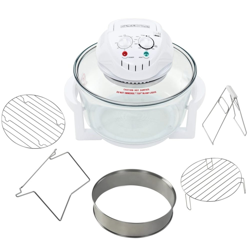 """vidaXL Halogen Convection Oven with Extension Ring 1400 W 17.9 Quart - 15.7"""""""" x 13"""""""" x 12.6"""""""" (2-Slice - White - Energy Star Compliant - 15.7"""""""" x 13"""""""" x"""