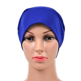 Muslim Scarf Kerchief Hat Solid Color blue