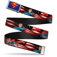 Superman Fcg Blue  Chrome Superman Poses American Flag Webbing Web Belt