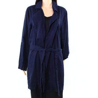 IMAN NEW Navy Blue Womens Size XL Open-Front Notch-Collar Belted Coat