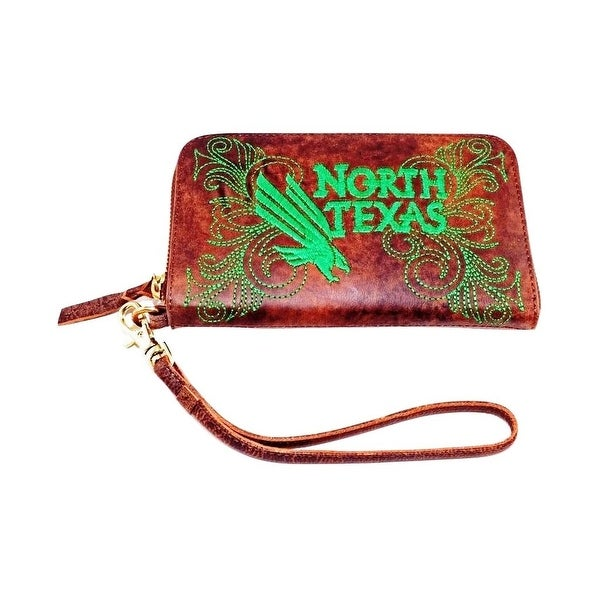 Gameday Wristlet Womens North Texas Mean Green Brass