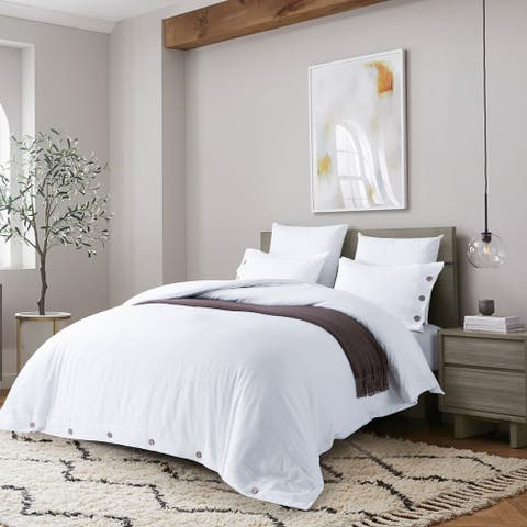 Stone Washed Linen Coconut Shell Button Duvet Cover Set