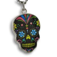 Day of the Dead Black Sugar Skull Necklace 24 In.