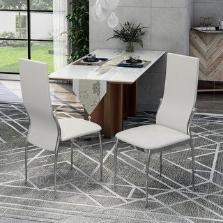 Link to Silver Orchid Bejo Faux Leather Dining Chairs (Set of 2) Similar Items in Dining Room & Bar Furniture