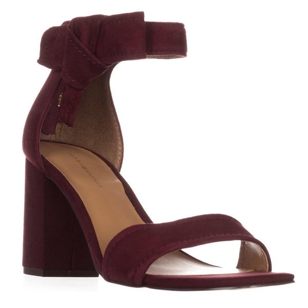 Tommy Hilfiger Sunday Ankle-Strap Heeled Sandals, Dark Red Suede