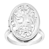 Floral Locket Ring in Sterling Silver - White