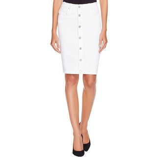 Blank NYC Womens Pencil Skirt Denim Button Front