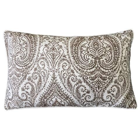 Rodeo Home Polina Traditional Damask Linen Lumbar Pillow