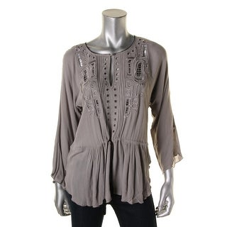 Twelfth Street by Cynthia Vincent Womens Petites Blouse Embroidered Cut-Out - p