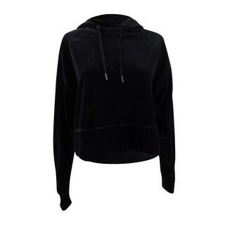 Calvin Klein Women's Performance Cropped Velour Hoodie (XS, Black) - Black - xs