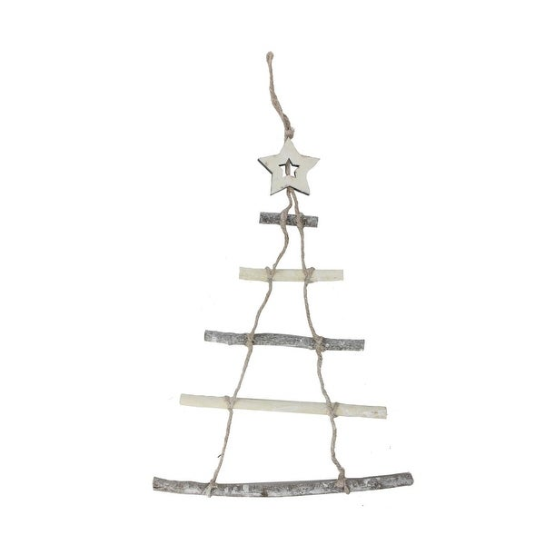 """21.5"""" Natural 5-Tier Wall Hanging Twig Tree with Star Christmas Decoration"""