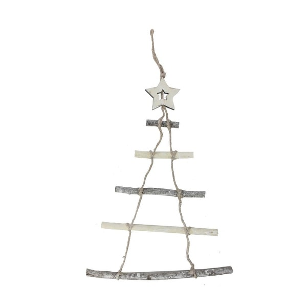 """21.5"""" Natural 5-Tier Wall Hanging Twig Tree with Star Christmas Decoration - brown"""