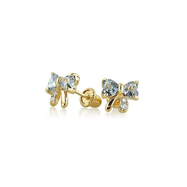 b2db1b451 Shop Tiny Aqua Blue Ribbon Bow Stud Earrings Cubic Zirconia Imitation  Aquamarine CZ Real 14K Yellow Gold Safety Screwback - On Sale - Free  Shipping Today ...