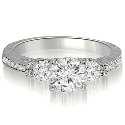 0.76 cttw. 14K White Gold Antique Three-Stone Round Diamond Engagement Ring