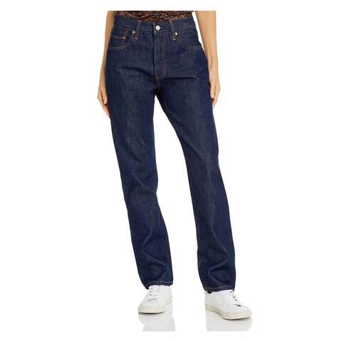 LEVI'S Womens Blue Solid Straight leg Jeans Size 32 Waist