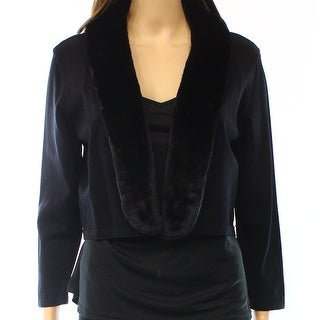 Lauren Ralph Lauren NEW Black Women's Size Large L Faux-Fur Cardigan